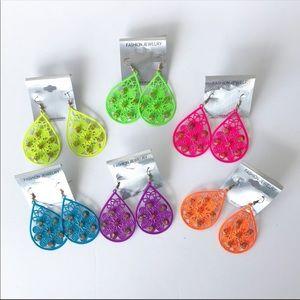 Neon Bright Teardrop studded earrings